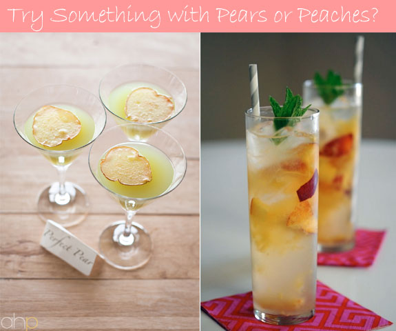 Peach and pear cocktails