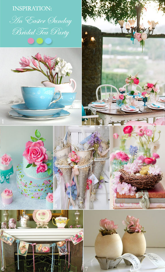A Vintage Easter Bridal Shower Tea Party In Pink And Aqua Unique