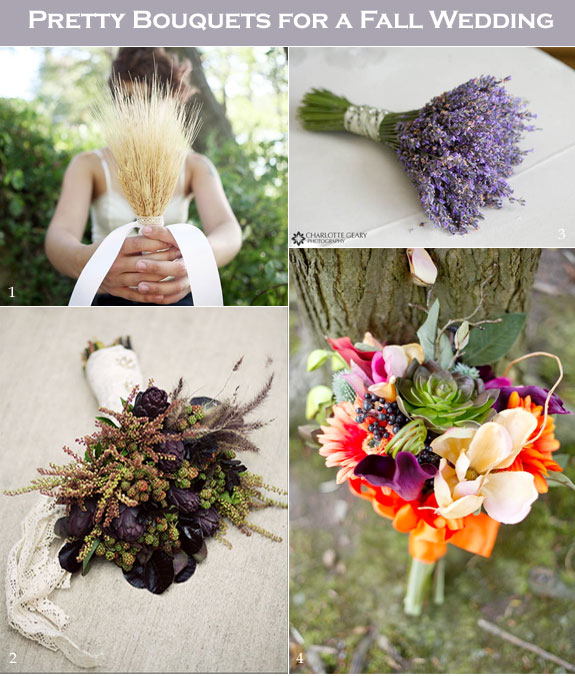 Fall bouquet like wheat, lavender, and succulents