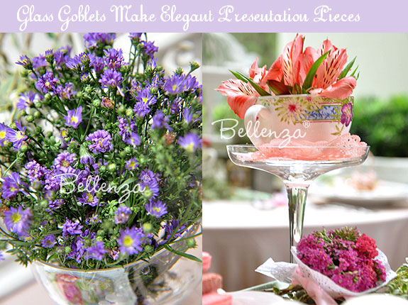 Asters and Alstroemeria in Glasses