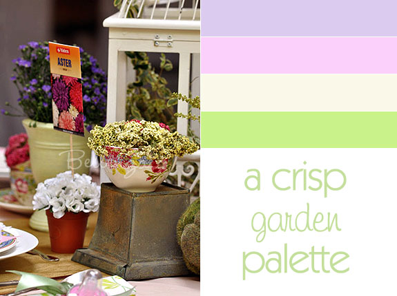 Spring garden wedding colors in purple, pink, and sage green
