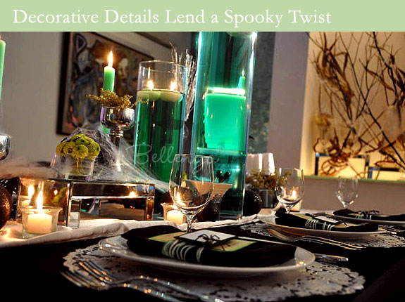 Halloween table accents like cobwebs