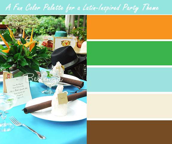 Aqua and brown themed table 