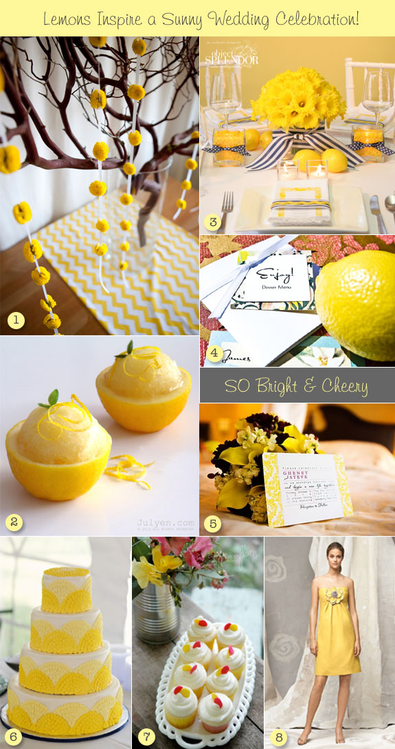 Inspiration board for citrus lemon wedding
