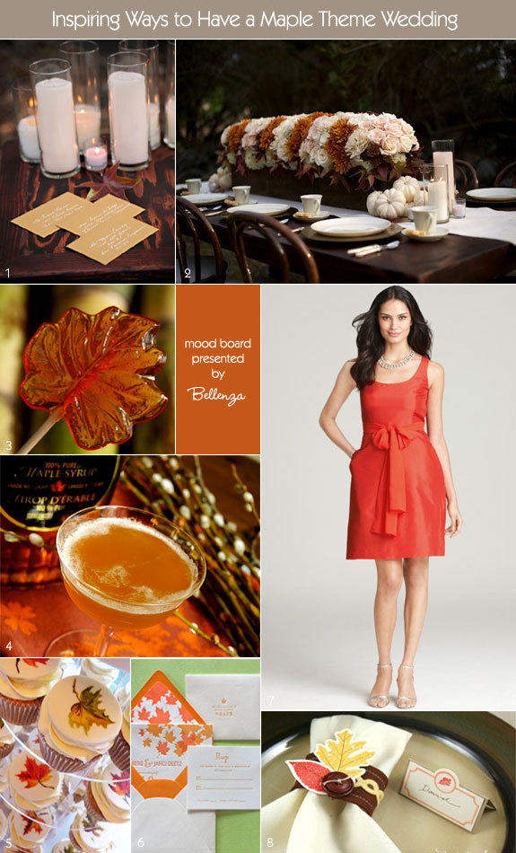 Fall wedding decorations and inspiration board