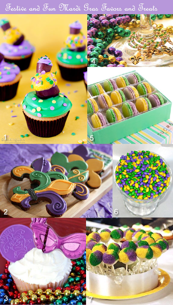 Mardi Gras party favors in purple, green, yellow