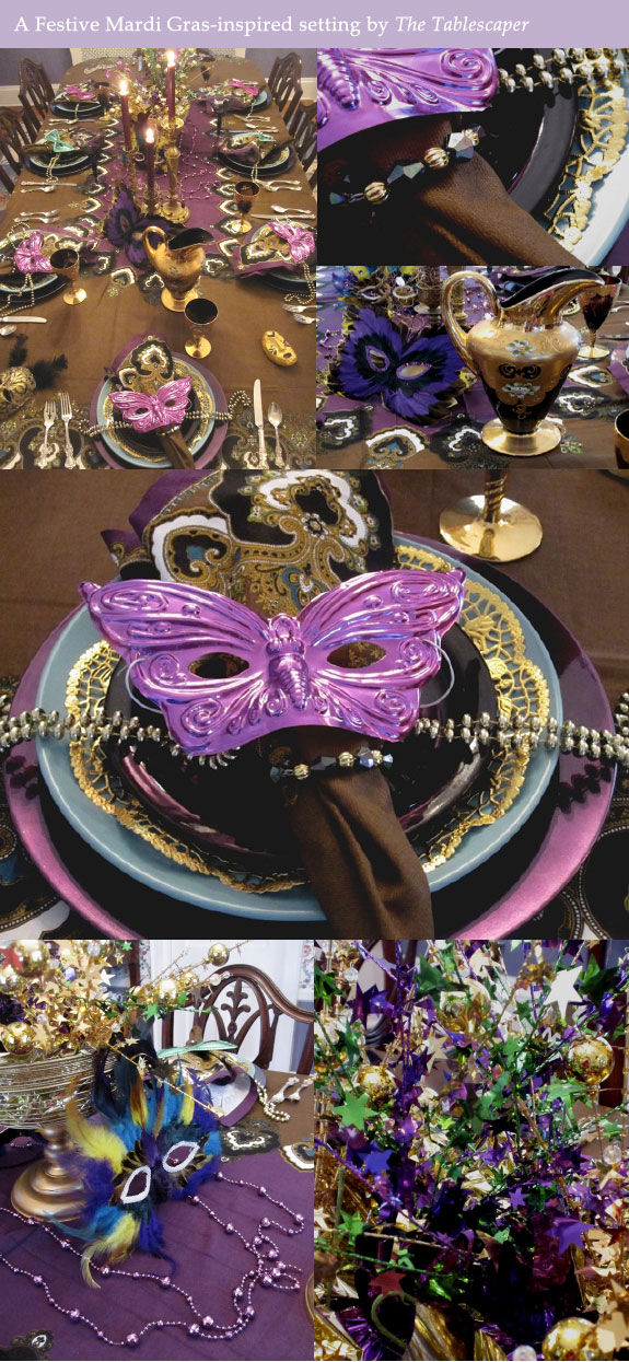 Mardi Gras table from Tablescaper
