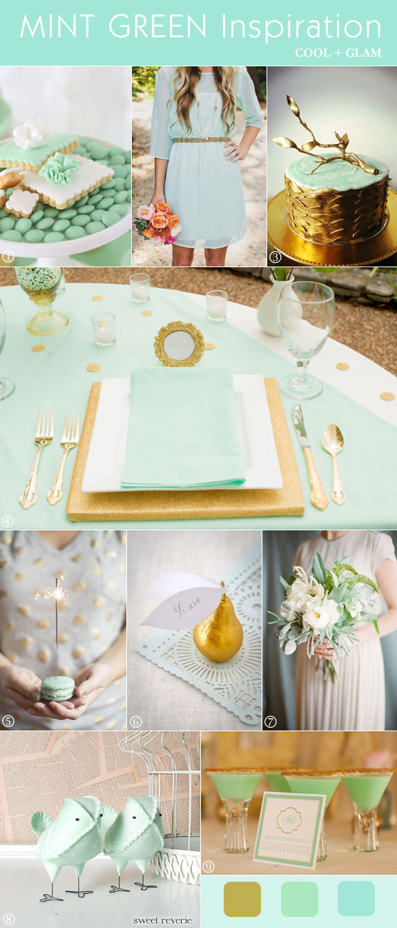 Mod Glam Wedding Inspiration: Mint Green and Gold - Unique Wedding ...
