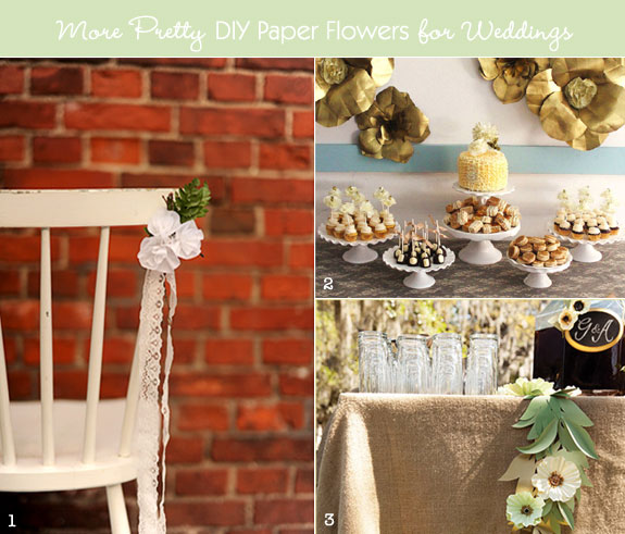 Paper flower decorations on chairs and walls