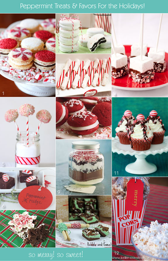 Peppermint favor ideas made of chocolate, marshmallows, buttercream