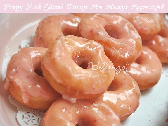 Pink glazed donuts