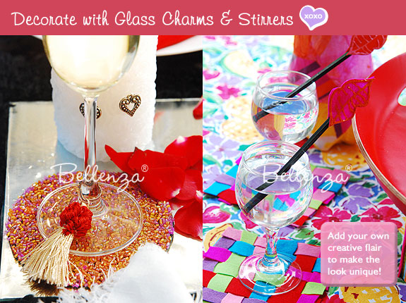 Decorative accents for Valentine drinks