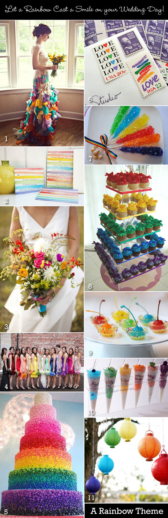 A rainbow-themed wedding with multicolors