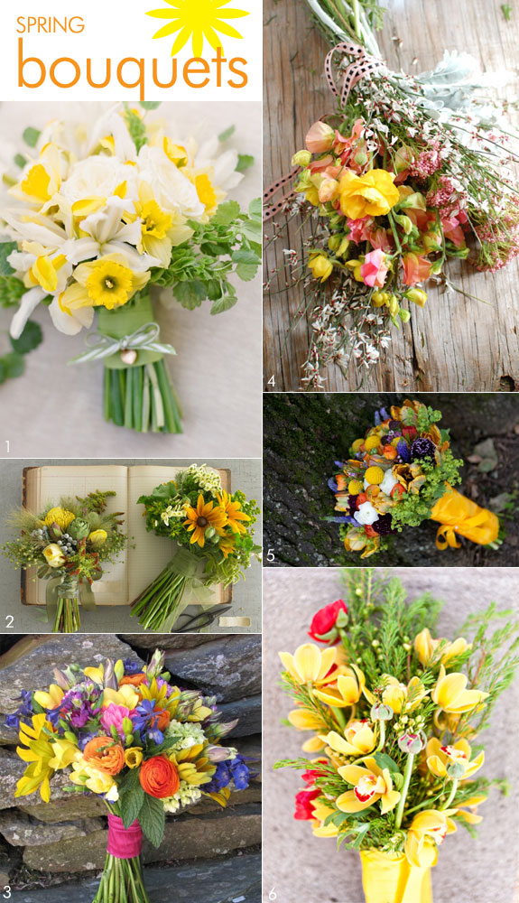Spring bouquets using wildflowers