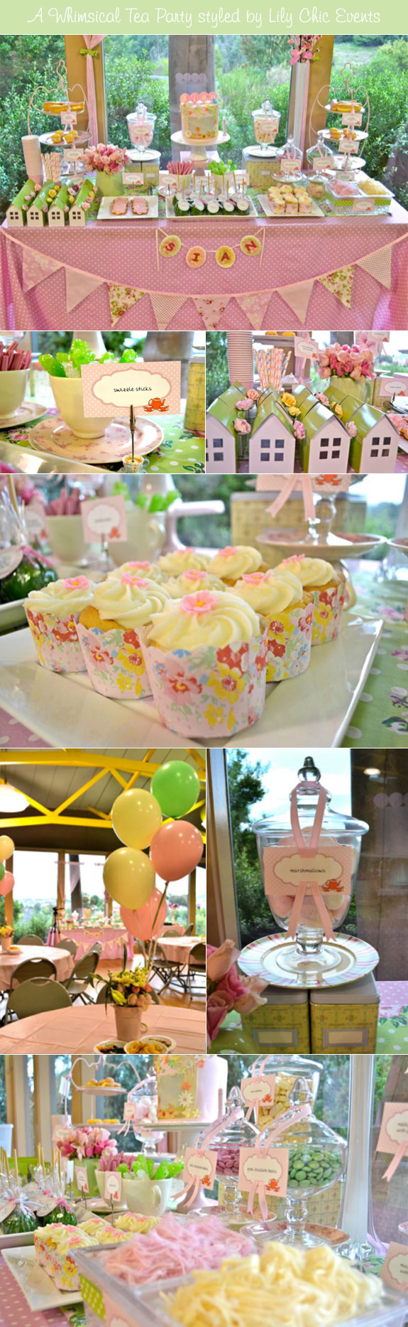 Pink and green bridal shower tea party