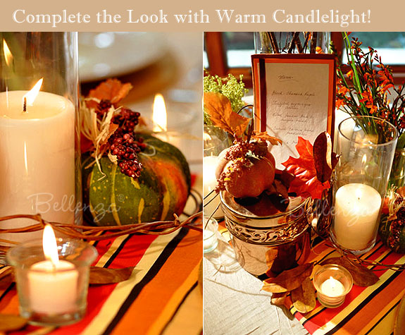 Squash with candles and pumpkins