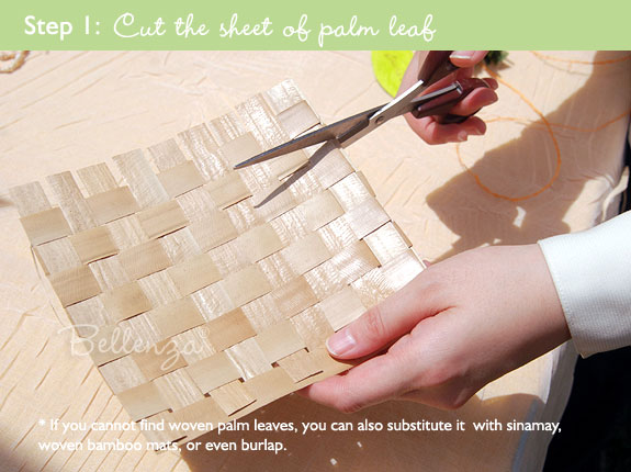 Cut the shee of palm leaf