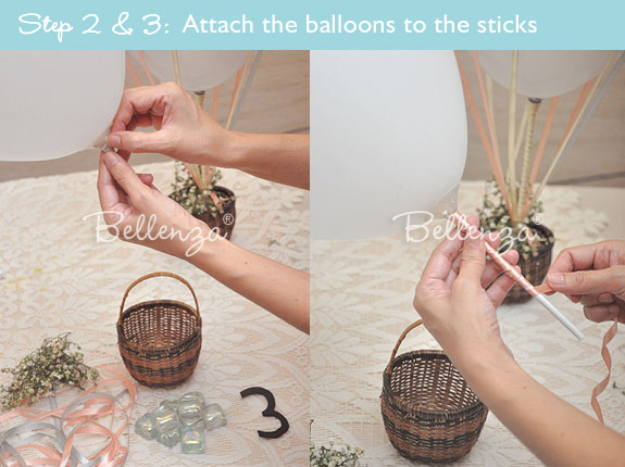 Attach sticks to balloons