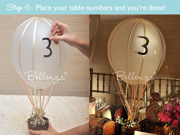 Paste the table numbers on your hot air balloon centerpiece