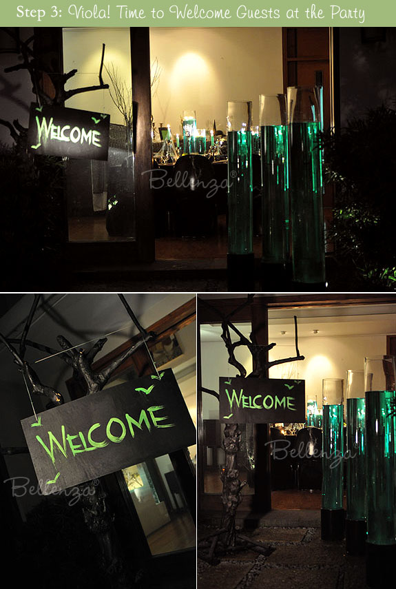 Present the entire display at the entrance to the party