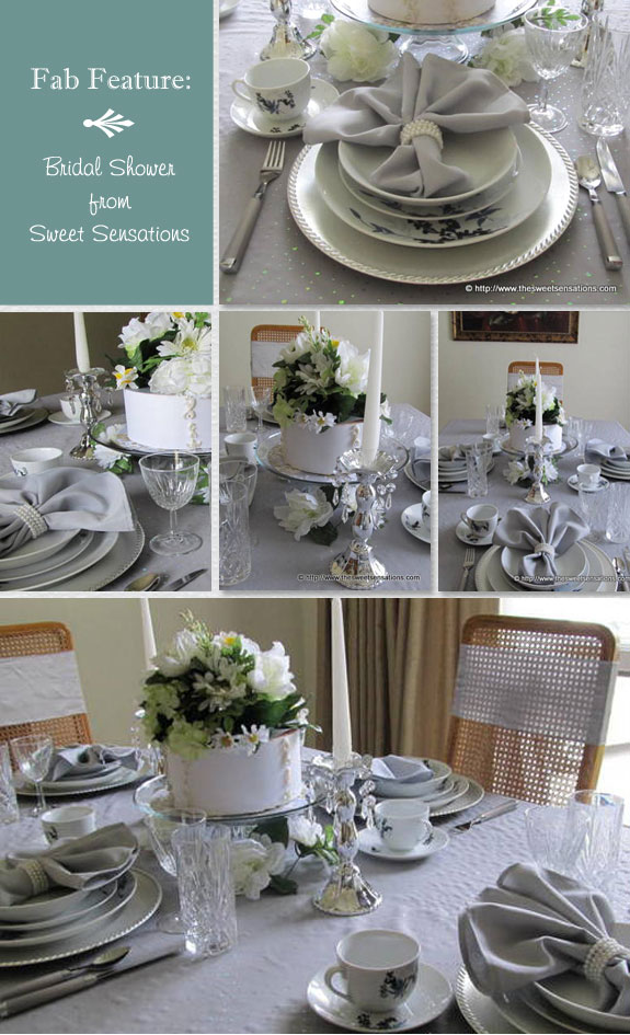 Silver And White Wedding Shower Tablescape