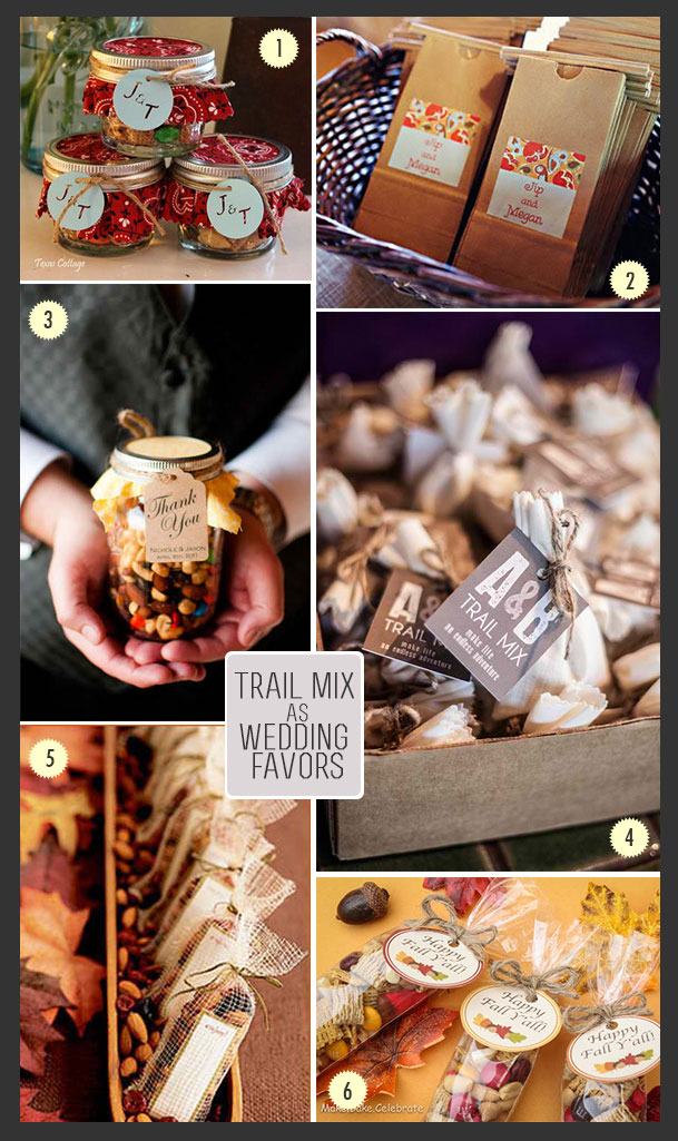 Trail mix favors in jars and bags