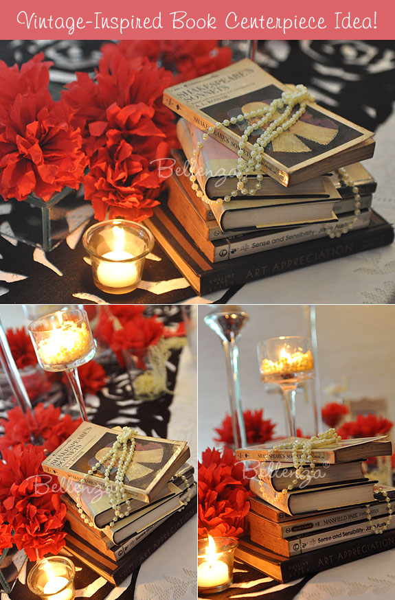 Book centerpiece with pearls and flowers