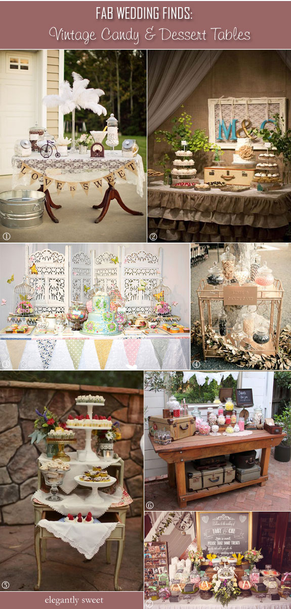 Vintage candy tables using lace, doilies, ruffles