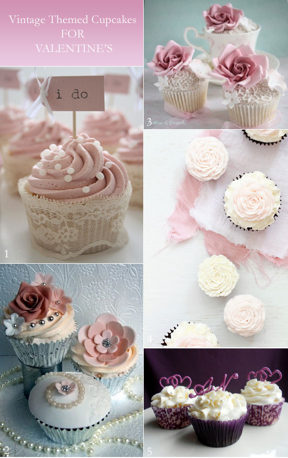 Vintage cupcakes in pink and white