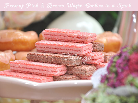 Pink and brown wafer cookies