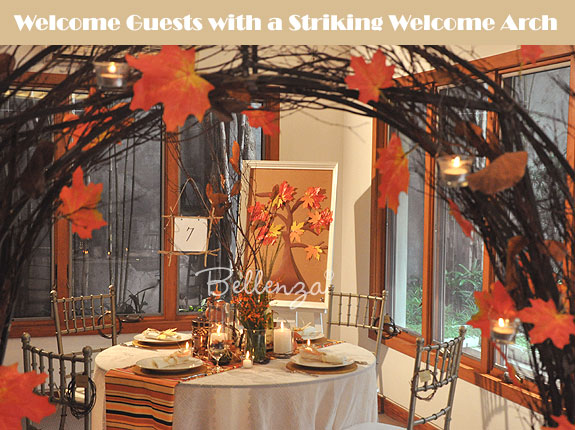 Elegant decorating ideas for an autumn wedding reception unique wedding reception welcome arch junglespirit Images