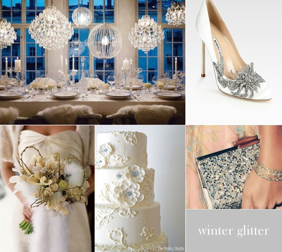 Winter wedding in silver glitter