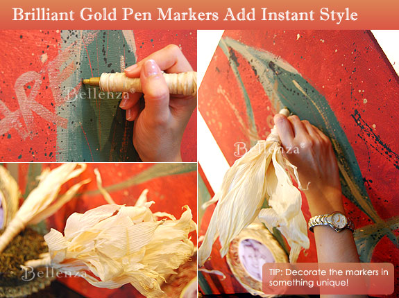 Corn husks decorated pen