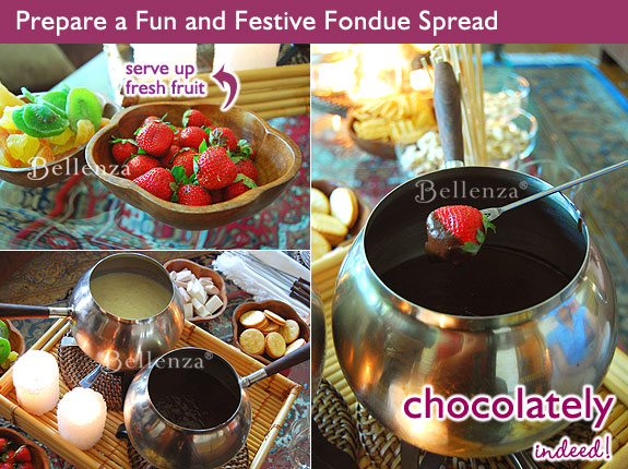 Fondue melted cheese and chocolate sauce