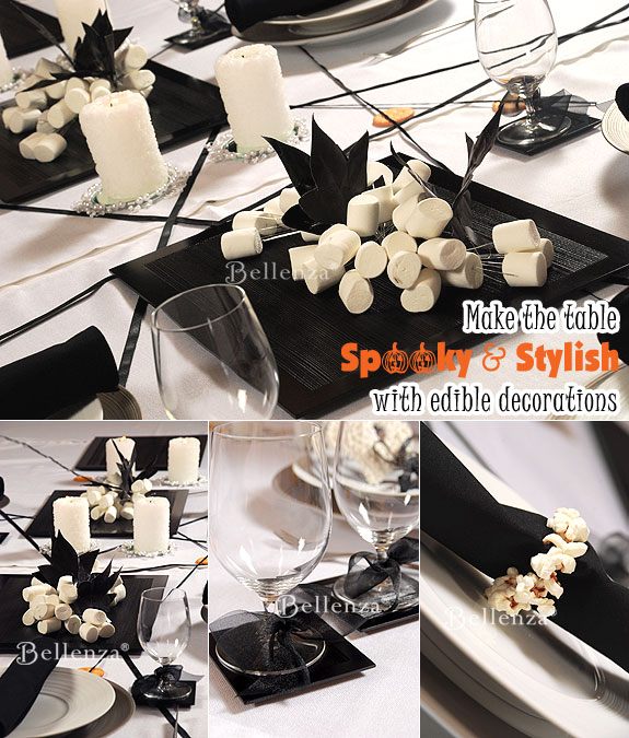 Marshmallow Halloween table centerpieces with candles