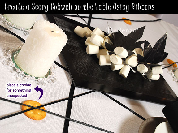 White tablecloth with black ribbons
