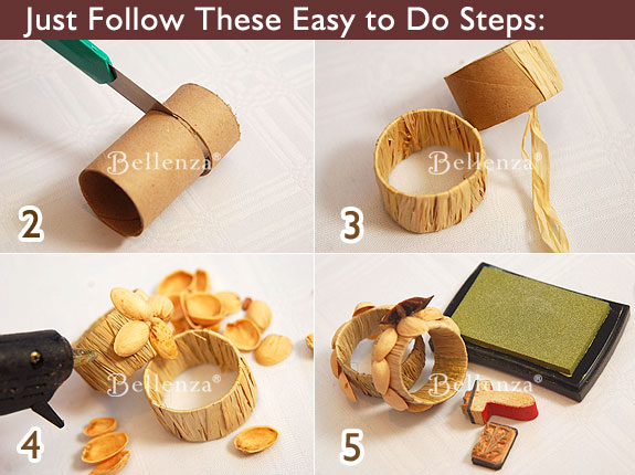 Cutter is used to make cardboard rolls by Bellenza - Napkin ring with nut shells