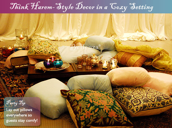 Pillows set on the floor with a persian rug