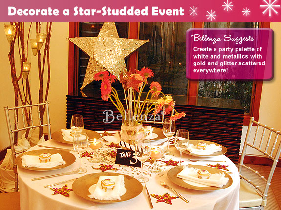Hollywood Themed Table Decorations Metallic Accents In Gold And Glitter
