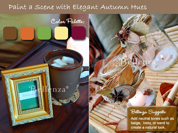 Palette of hues with rustic elements like bark and twine