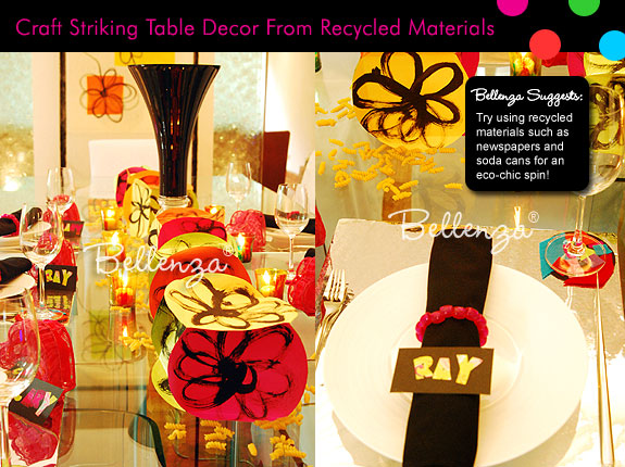 Pop art table decorations in neon colors