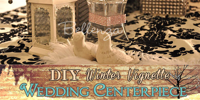 DIY Winter Centerpiece Vignette with Love Birds