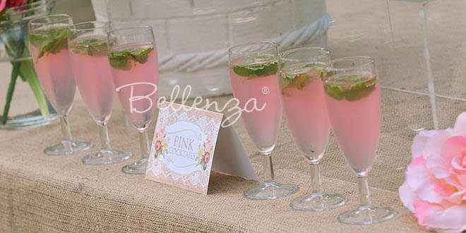 Pink cocktails for a Vintage Country wedding reception