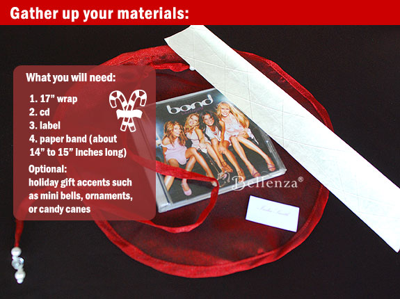 Materials needed to create your holiday wrapping