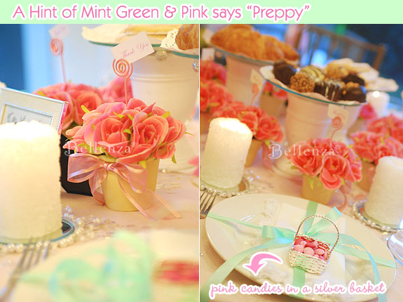 Pink and mint green wedding colors.