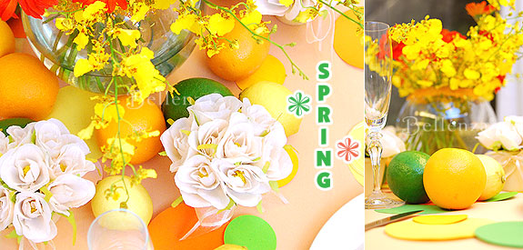 citrusy spring colors in green, orange, and yellow for a spring time bridal shower party