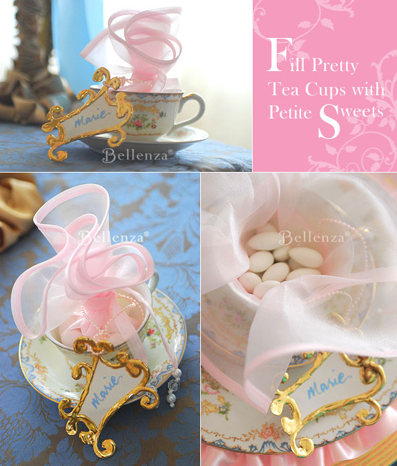 Vintage tea cups as holders for jordan almonds wrapped in pink organza.