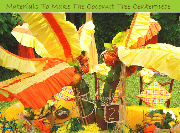 Materials For This Coconut Tree Centerpiece