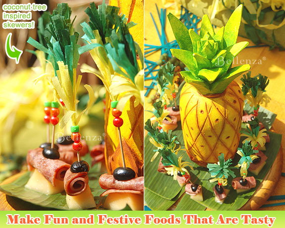 Make appetizers with fruits trimmed with pineapples from wontons to shrimp skewers.