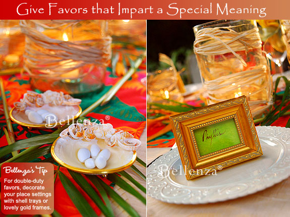 Tropical rehearsal dinner luau favors